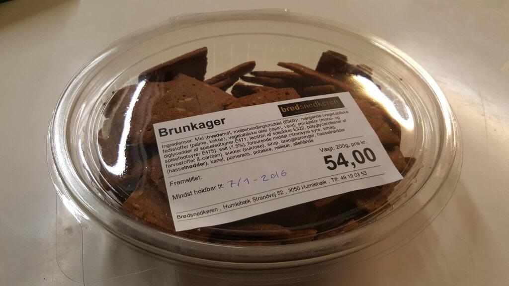 Brunkager fra Brødsnedkeren i Humlebæk - med etiket fra FoodInfo