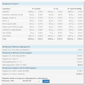 kalkulation - beregning af udsalgspris udfra givet dækning